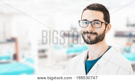 Man in lab, researche in laboratory, science