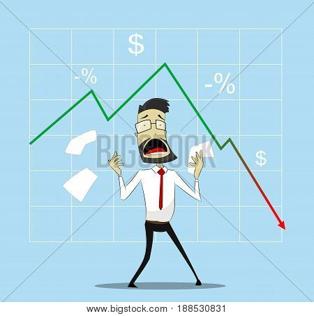 Businessman in panic. Concept of falling income indicators . Vector