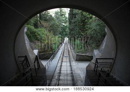 Tbilisi. Georgia.Railway funicular in Tbilisi. The summer