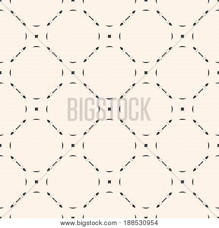 Vector monochrome seamless pattern. Subtle background with simple geometric figures thin lines. Illustration of mesh lattice seamless pattern. Repeat abstract texture. Light design for prints, decor, web, textile.