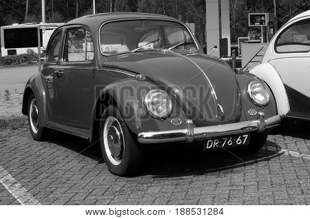 Wageningen, The Netherlands - May 29, 2017: Volkswagen Type 1 parked on a public parking lot in the city of Wageningen. Nobody in the vehicle. The VW T1 is also known as Beetle, Bug and Kafer.