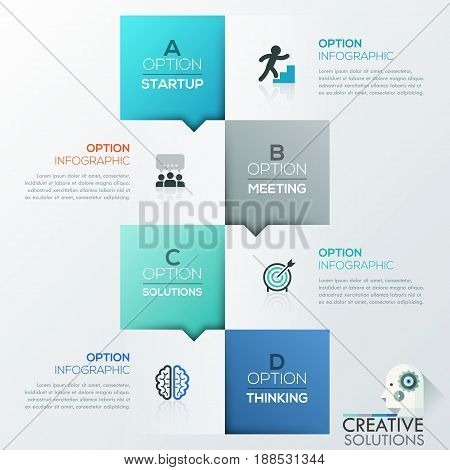 Creative infographic design template, 4 lettered squares and text boxes arranged chequerwise. Four steps to startup success. Vector illustration for corporate website, presentation, brochure, report.