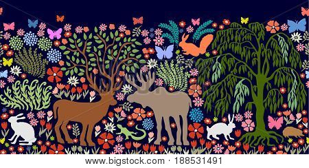 Deer, elk, hares, squirrel, hedgehog, lizard, plants.