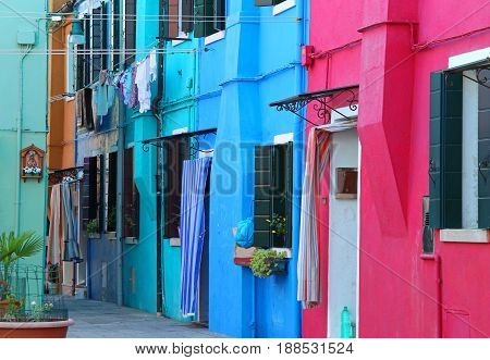 Colorful Houses On The Island Of Burano Near Venice In Italy In