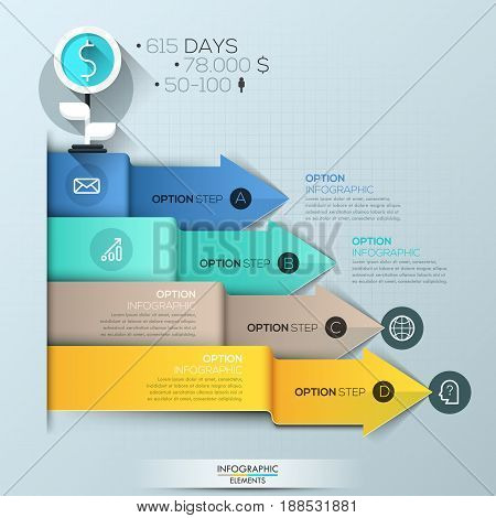 Infographic design template, 4 multicolored overlapping arrows pointing at text boxes and pictograms. Company statistics and revenue representation concept. Vector illustration for presentation.