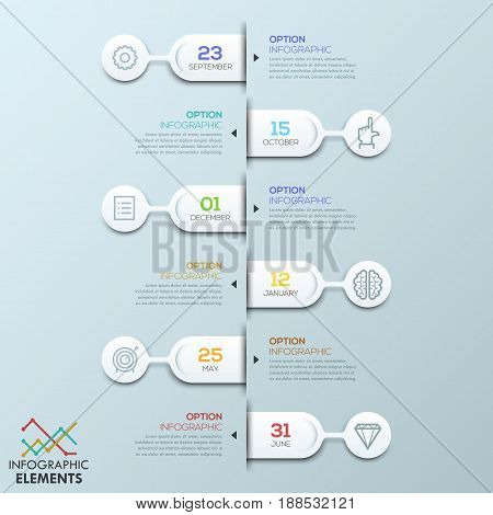 Six rounded elements connected with text boxes and pictograms, infographic design template. Effective daily planning, appointment reminder concept. Vector illustration for website, presentation, blog.