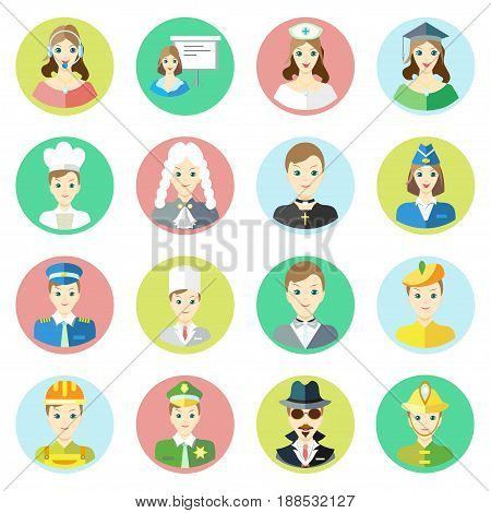 Icons characters of different professions telephone operator, businessman, nurse, scientist, cook, judge, priest, stewardess, pilot, doctor, artist, artist, builder, sheriff, spy, fireman in a flat style. Vector image on a round colored background. Elemen
