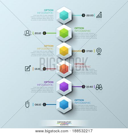 Six multicolored hexagons connected with text boxes and pictograms, infographic design template. Effective daily scheduling, task management concept. Vector illustration for mobile application, blog.