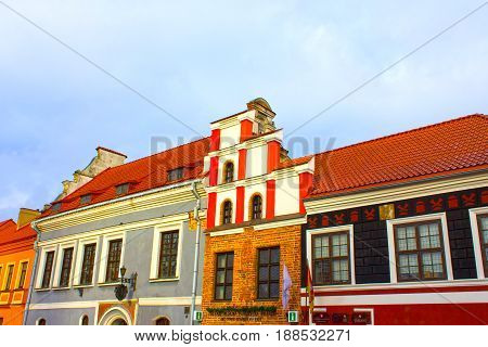 The fasades of old houses at the street of old town at Kaunas