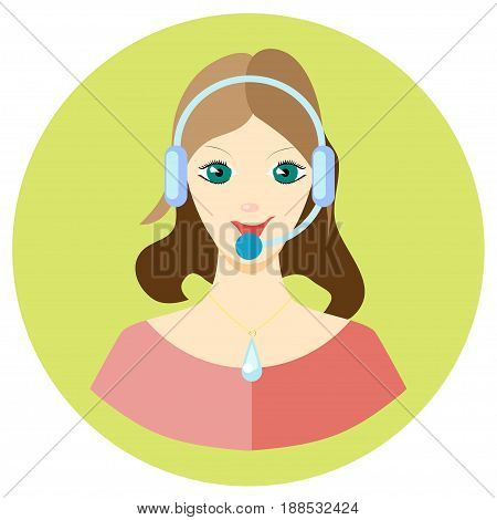 Icon girl call center employee in a flat style. Vector image on a round colored background. Element of design, interface. Image in the cartoon style.