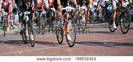 Vicenza, Vi, Italy - April 30, 2017: Group Of Cyclists With Racing Bikes During The Race Called Gran