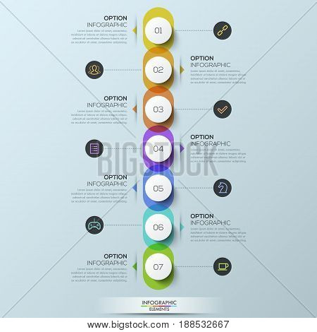 Infographic design template, 7 rainbow overlapping elements connected with text boxes and pictograms. Weekly scheduling and planning concept. Vector illustration for productivity planner, website.
