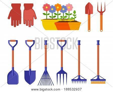 garden isolated equipment for spring season landscaping