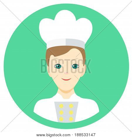 Icon man cook in a flat style. Vector image on a round colored background. Element of design, interface. Image in the cartoon style.