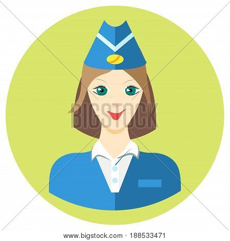 Woman stewardess iconin a flat style. Vector image on a round colored background. Element of design, interface. Image in the cartoon style.