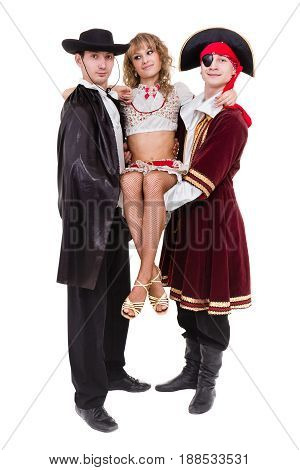 dancer team wearing Halloween carnival costumes dancing against isolated white background in full body
