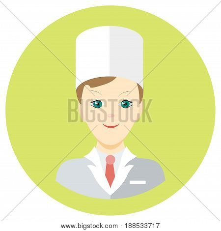 Icon man doctor in a flat style. Vector image on a round colored background. Element of design, interface. Image in the cartoon style.