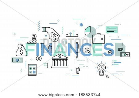 Modern infographic banner with elements in thin line style. Finances, banking, budget planning, taxation, money saving and paying debt concept. Vector illustration for header, website, presentation.
