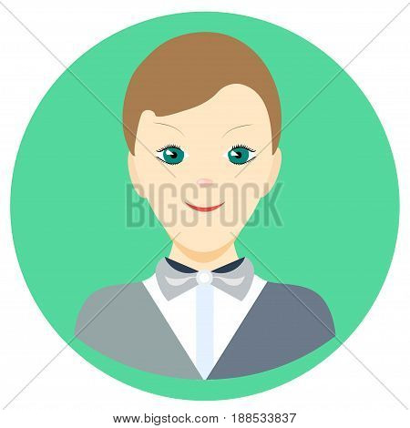 Icon man singer in a flat style. Vector image on a round colored background. Element of design, interface. Image in the cartoon style.