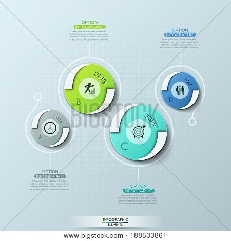 Creative infographic design template with 4 round elements, pictograms, year indication and text boxes. Horizontal timeline, annual achievement report. Vector illustration for presentation, brochure.
