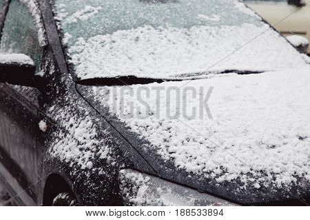 The first snow lies on the machines with flakes. Russia. The concept is an abnormal cyclone with a snowfall in summer and autumn, a worldwide cooling.