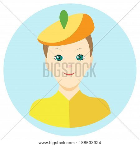 Icon man painter in a flat style. Vector image on a round colored background. Element of design, interface. Image in the cartoon style.