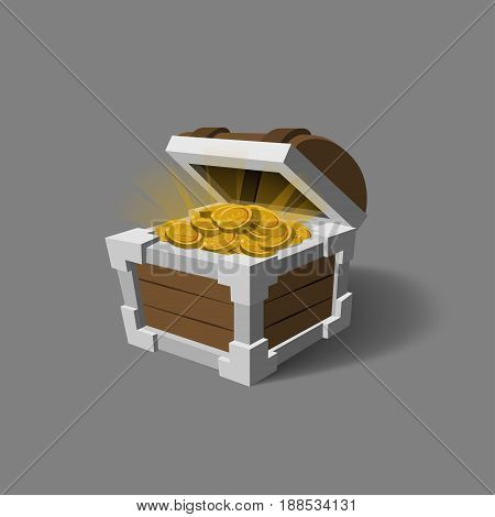 Chest with gold in a cartoon style. Pirate treasures. Box icon for game interface. Vector illustration