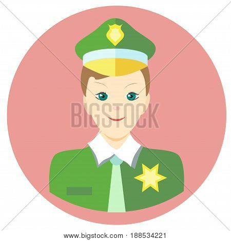 Icon man sheriff in a flat style. Vector image on a round colored background. Element of design, interface. Image in the cartoon style.