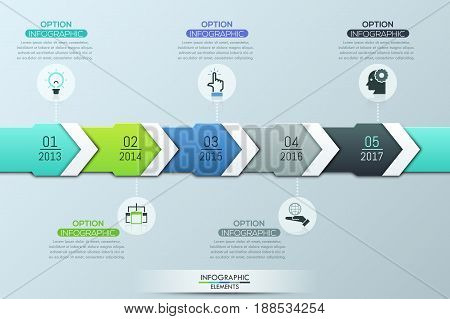 Unique infographic design template, 5 multicolored overlapping arrows with year indication connected with pictograms and text boxes. Company annual statements. Vector illustration for report, website.
