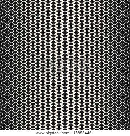 Vector halftone seamless pattern, abstract monochrome texture with gradient transition effect. Illustration of mesh with gradually thickness smooth wavy lines seamless background. Design for prints, decor, fabric, cloth.