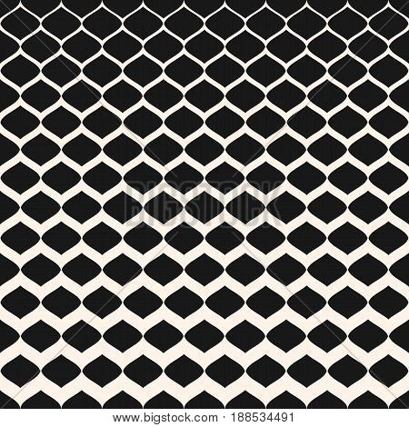 Halftone seamless pattern, vector monochrome texture with gradient transition effect from dark to light. Illustration of mesh tissue halftone pattern. Abstract repeat seamless background. Design for prints, covers, fabric.