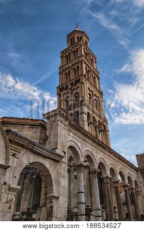 Cclose up on Cathedral of Saint Domnius, Dujam, Duje, bell tower in old town, Split, Croatia, HDR by day