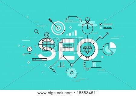Thin line flat design template of search engine optimization. Modern vector illustration concept of word SEO for website and mobile applications banners, easy to edit, customize and resize.