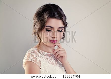 Cute Young Woman Fiancee with Perfect Bridal Hairstyle Event Makeup and White Dress on Banner Background