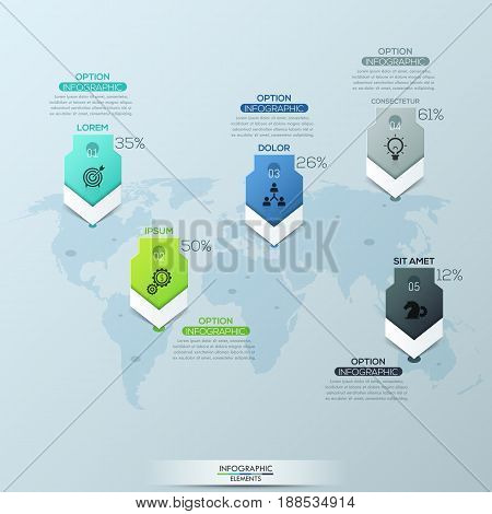 World map and 5 location marks with headings, percentage indication, icons and text boxes. Infographic design layout. Global business analytics and statistics concept. Vector illustration for report.