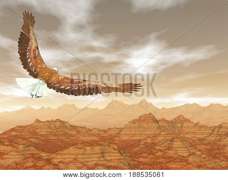 Bald eagle flying upon rocky mountains by sunset light - 3D render