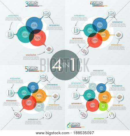 Set of modern infographic design templates with 3, 4, 5 and 6 overlapping translucent round elements connected with pictograms and text boxes. Business statistics visualization. Vector illustration.