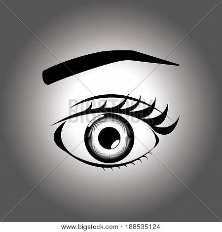 An open eye with an eyelash and an eyebrow on a gray background