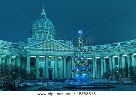 Kazan Cathedral in St. Petersburg Christmas . Toned