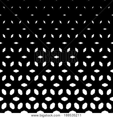 Vector halftone seamless pattern, monochrome geometric texture visual transition effect from black to white. Vertical falling shapes morphing rhombuses background. Dark abstract seamless texture. Square design element.