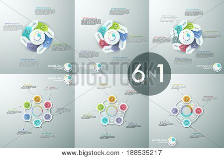 Set of infographic design layouts, circular diagrams with 4, 5 and 6 elements connected with text boxes. Visualization of business processes. Vector illustration for corporate brochure, report.