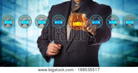 Blue chip automobile designer selecting a connected auto in a lineup. Concept for autonomous or driverless car vehicle tracking system artificial intelligence and vehicular communication systems.