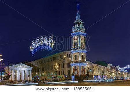 ST. PETERSBURG RUSSIA - DECEMBER 21 2016: Nevsky Prospect with Saint Petersburg City Duma at Christmas illumination.