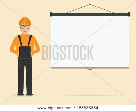 Builder In Overall And In Hard Hat, Projection Screen On Background. Builder On Presentation