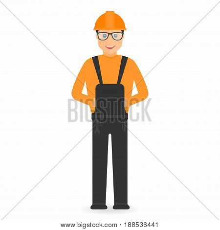 Builder In Overall And In Hard Hat Isolated On Background. Belt With Tools. Flat Design