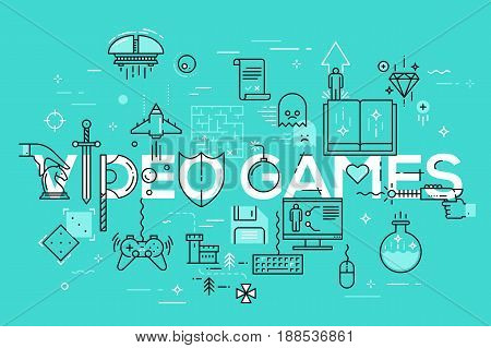 Modern thin line template of classic game objects, mobile gaming elements. Vector illustration concept of word video games for website and mobile applications banners, easy to edit, customize and resize.