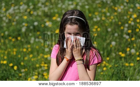 Young girl with long brown hair with allergy to the pollen blows her nose with the handkerchief in the middle of the meadow