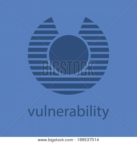Vulnerability glyph color icon. Silhouette symbol. Abstract metaphor. Negative space. Vector isolated illustration