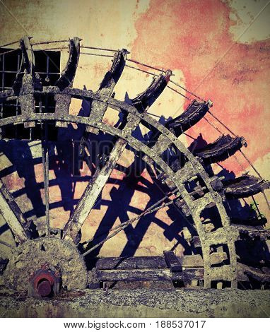 Detail Of A Big Wheel Of An Old Water Mill With Vintage Effect