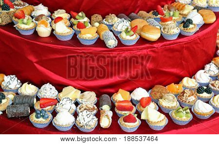 Lots Of Cake With Cream And Fruit During The Wedding Lunch At Th